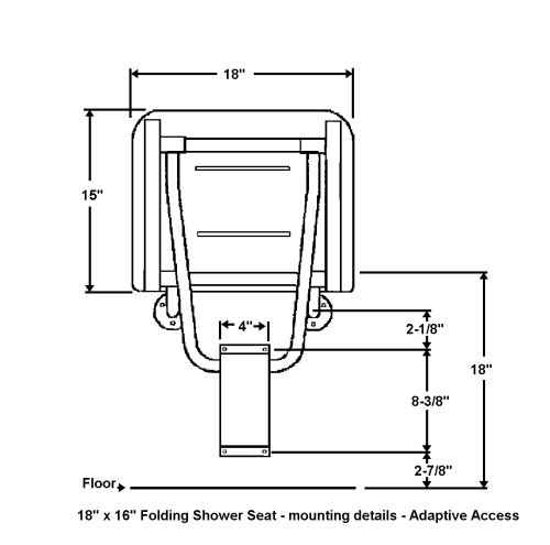 folding compact shower seat drawing dimensions