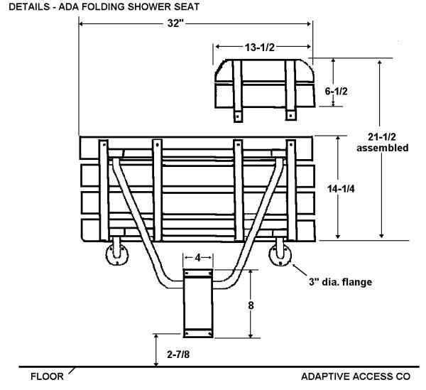 ADA folding shower seat dimensions